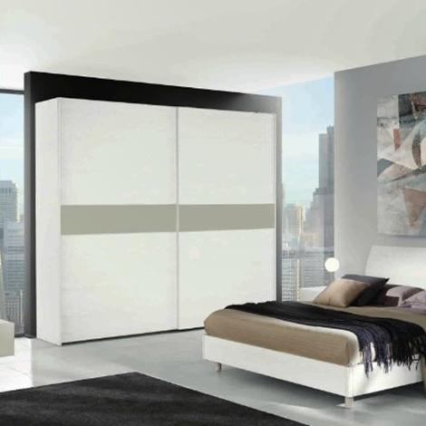 Camera matrimoniale completa bianca e grigio laccato opaco - Camera da letto contemporanea bianca ...