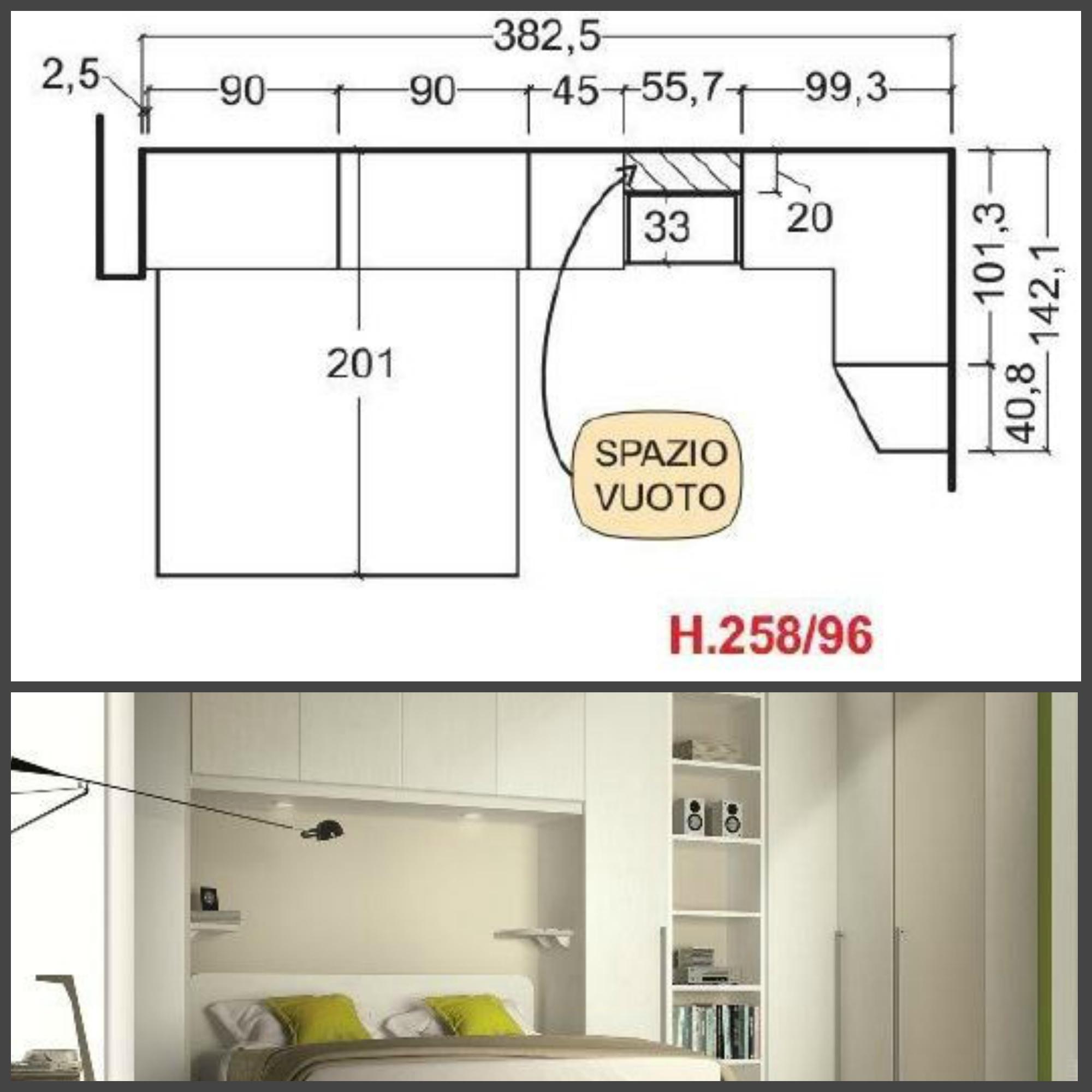 Camera matrimoniale con armadio a ponte e cabina armadio - Dimensioni camera da letto matrimoniale ...
