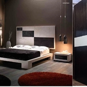 camera in legno e bambu in colore white black