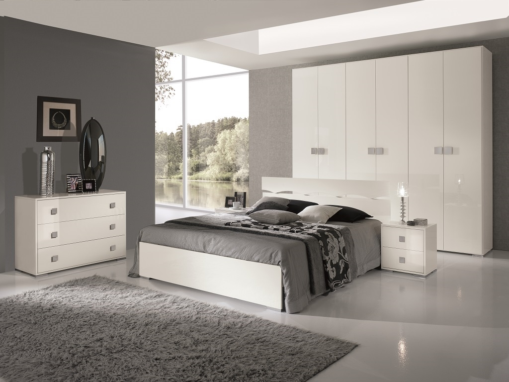 Camera laccata lucida moderna completa camere a prezzi - Camera da letto laccata bianca ...
