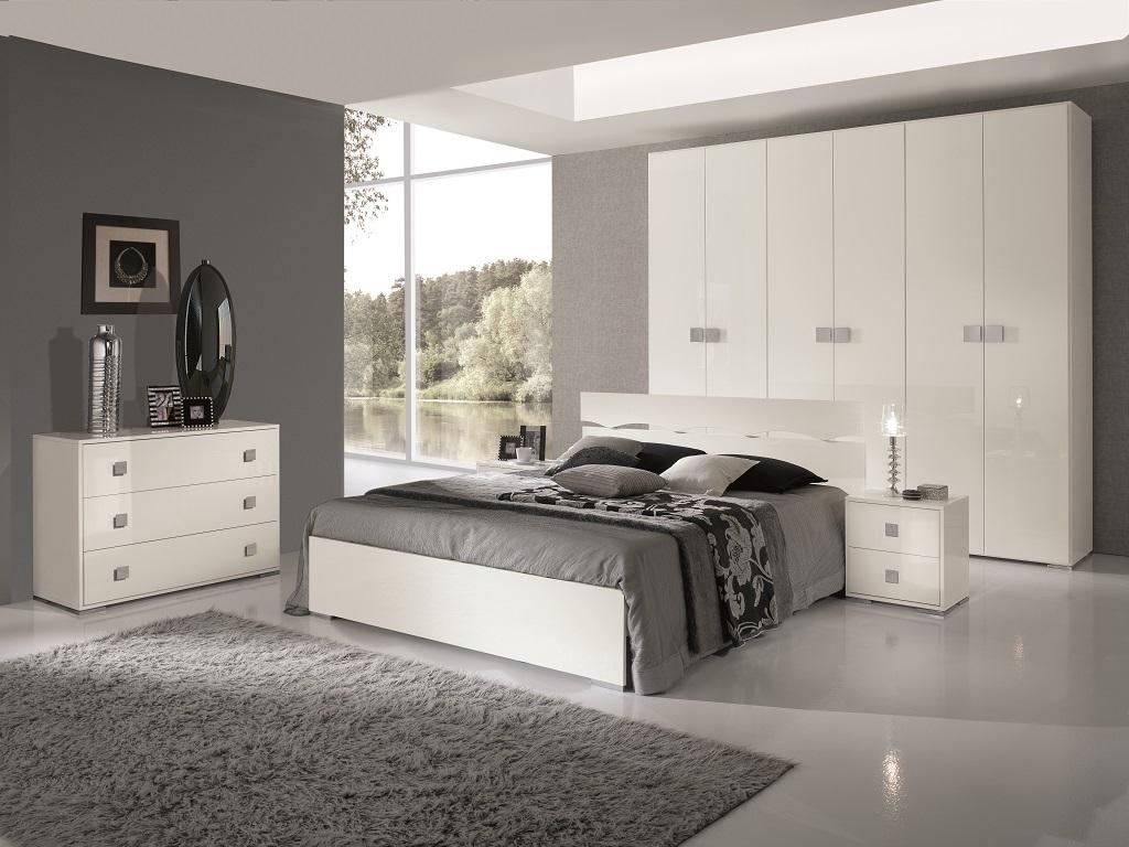 Camera bianca moderna completa camere a prezzi scontati - Camera da letto moderna bianca laccata ...