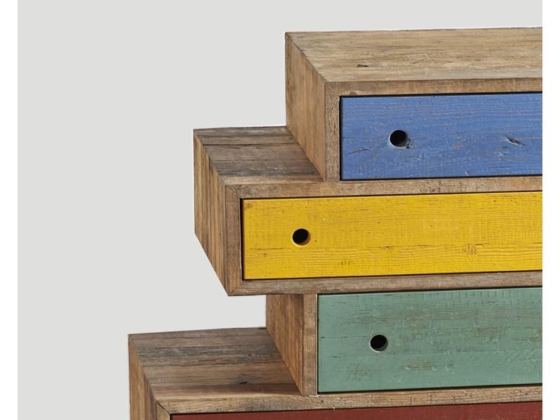 Cassettiere cassettiera dialma brown in legno a prezzo for Cassettiere design outlet