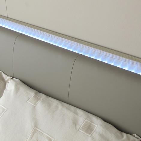 Camera matrimoniale mab letto con testiera ecopelle e luce - Luce per camera da letto ...