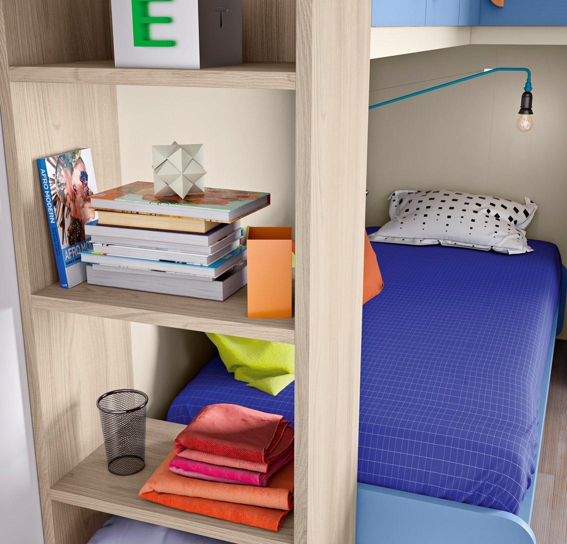 Cameretta per ragazzi colorata di qualit scontatissima - Letto con libreria sotto ...