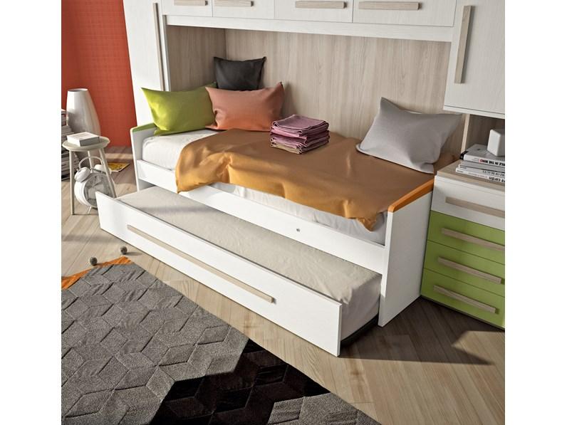 Cameretta a ponte con un letto e secondo letto estraibile - Letto con secondo letto estraibile ...