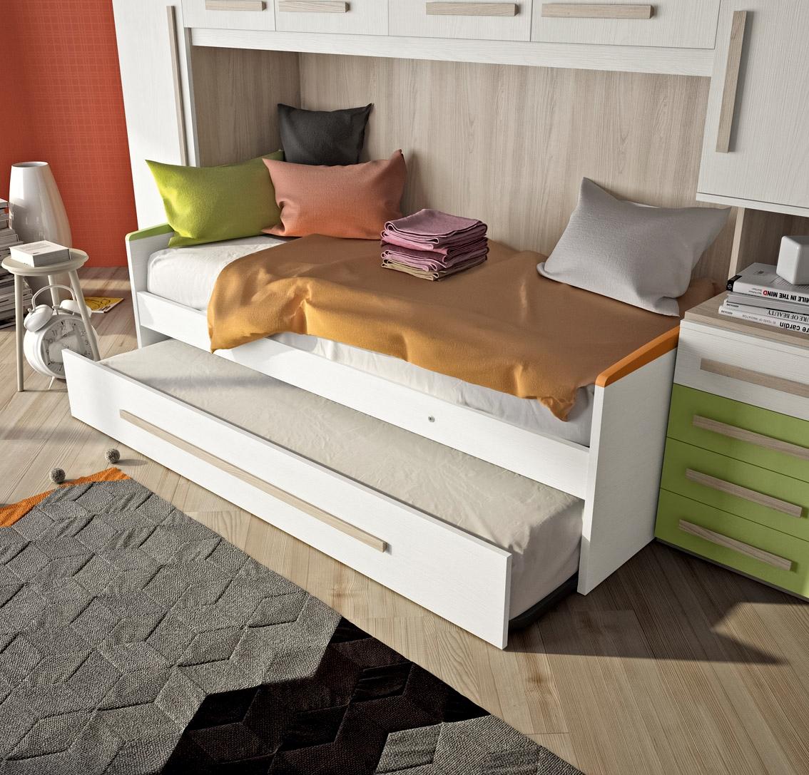 Cameretta a ponte con un letto e secondo letto estraibile for Cameretta per due