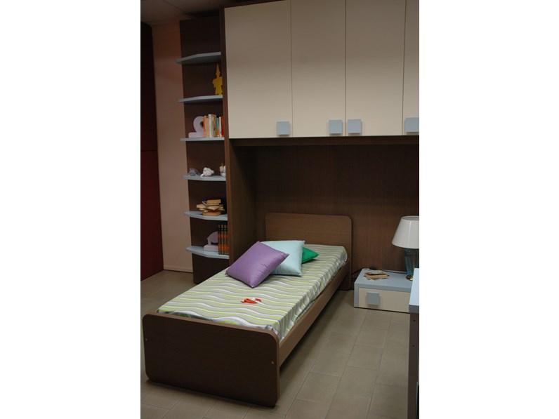 Cameretta a ponte Linea D con letto singolo, scrivania e libreria a ...