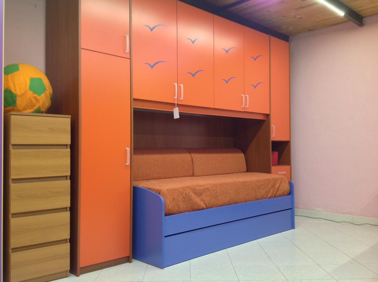 Cameretta a ponte per ragazzi arancio ciliegio modello for Cameretta 3x3