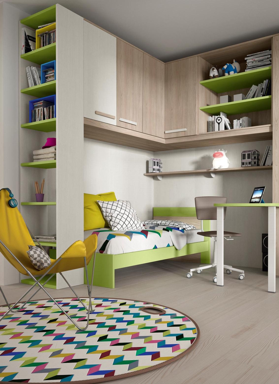 Cameretta angolare con un letto colorata camerette a prezzi scontati - Camera per bambini usata ...