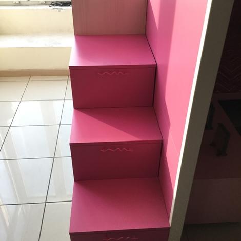 cameretta bianca e fucsia : Cameretta Battistella Bianca, rosa ed effetto legno Letti a soppalco ...