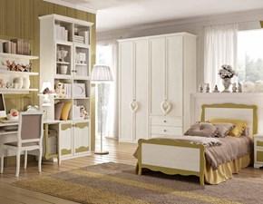 Camera in legno pattinata beige modello Beverly della san michele