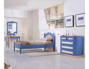 CAMERETTA Blu cielo in abete massello Artigianale a PREZZI OUTLET