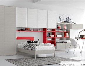 Cameretta Colombini modello Y506 linea Golf. Cameretta comprensiva di armadio, mensola, libreria, ripiani, letto, panchetta, comodino, scrivania e sedia.