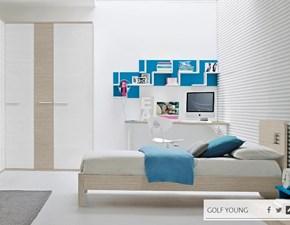 Cameretta Colombini modello Y519 linea Golf. Cameretta comprensiva di libreria, armadio, scrivania, sedia, cubolotto, letto e panchetta