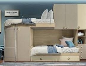 Cameretta Comp soppalco 02 tortora Artigianale con letto a soppalco a prezzo Outlet