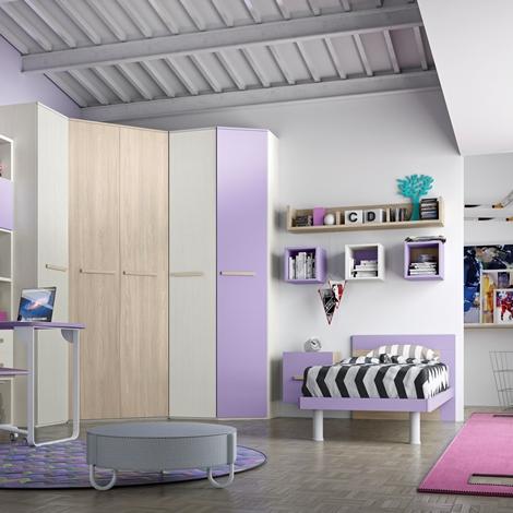 Cameretta con cabina armadio e un letto completa di zona for Libreria ad albero prezzi