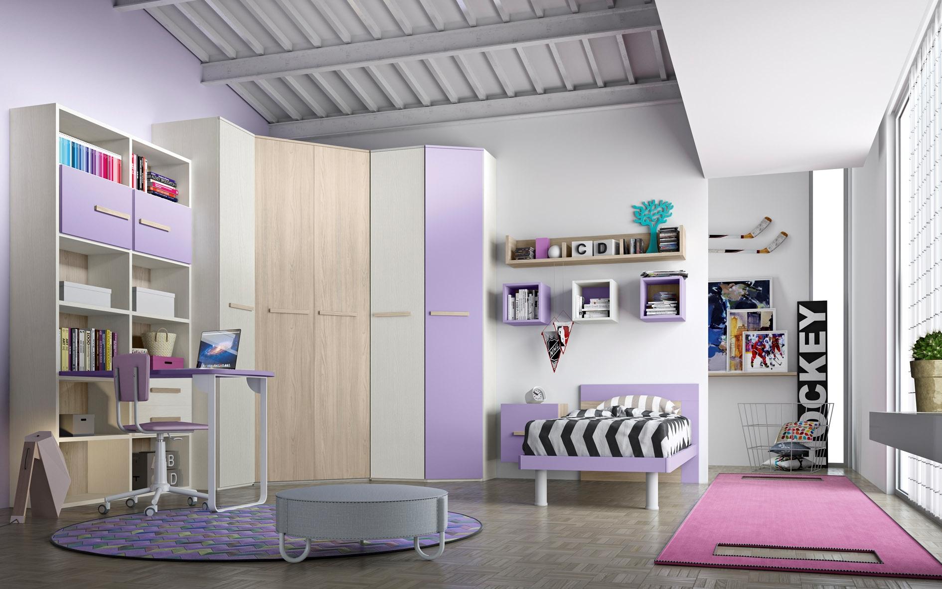 Cameretta con cabina armadio e un letto completa di zona for Scrivania angolare mondo convenienza
