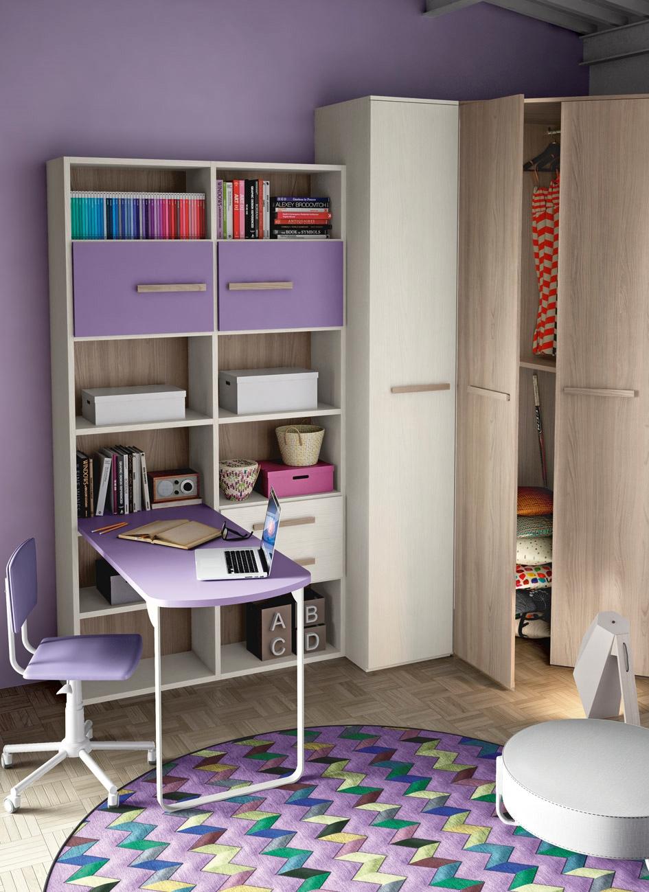 Cameretta con cabina armadio e un letto completa di zona for Libreria con scrivania incorporata