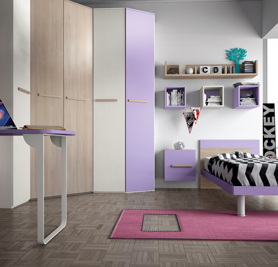 Cameretta con cabina armadio e un letto completa di zona studio e liberia camerette a prezzi - Scrivania camera da letto ...