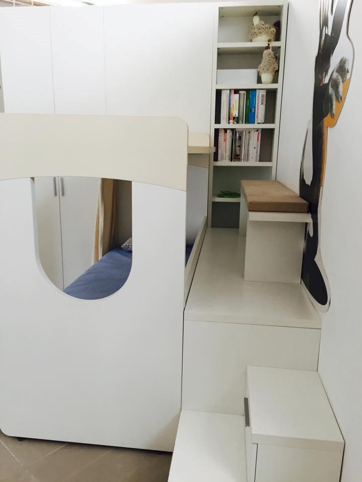 Cameretta doimo cityline con castello scrivania e cabina for Letto a castello con armadio