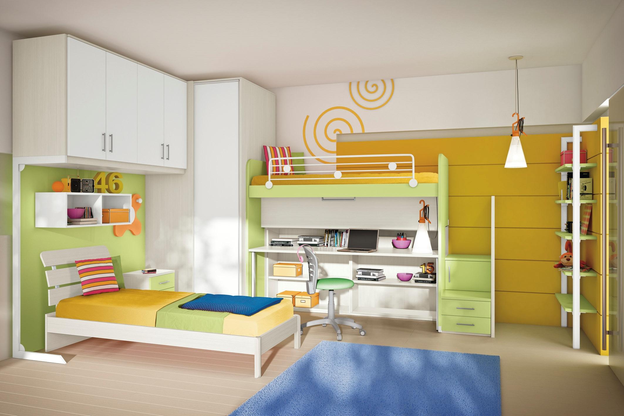 Cameretta due letti a soppalco cabina armadio angolare e for Prezzi della cabina di tronchi di 3 camere da letto