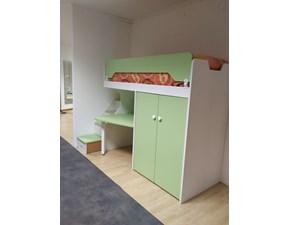 Cameretta Fantasy bianco cocco e verde Zg mobili con letto a castello in Offerta Outlet
