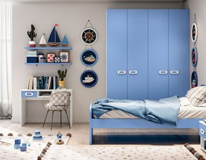 Cameretta in laccato opaco�Cameretta color blue con armadio  Md work scontata 44%