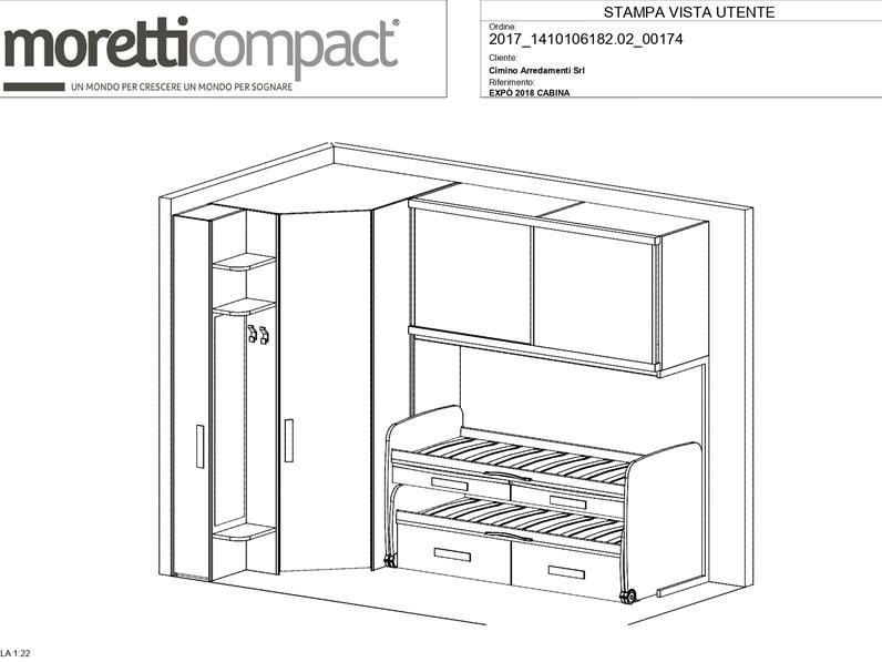 Cameretta in laminato materico Young Moretti compact ...