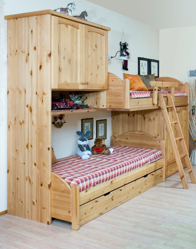 Cameretta in legno country a soppalco camerette a prezzi - Camerette bambini legno naturale ...