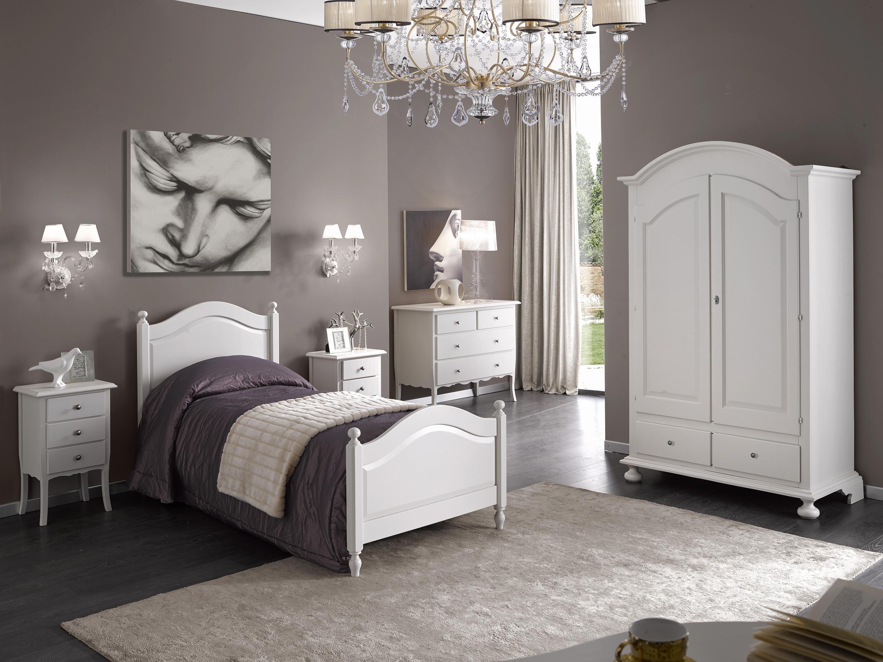 Cameretta in legno colore bianco liscio artigianale camerette a prezzi scontati - Arredamento camera singola ...