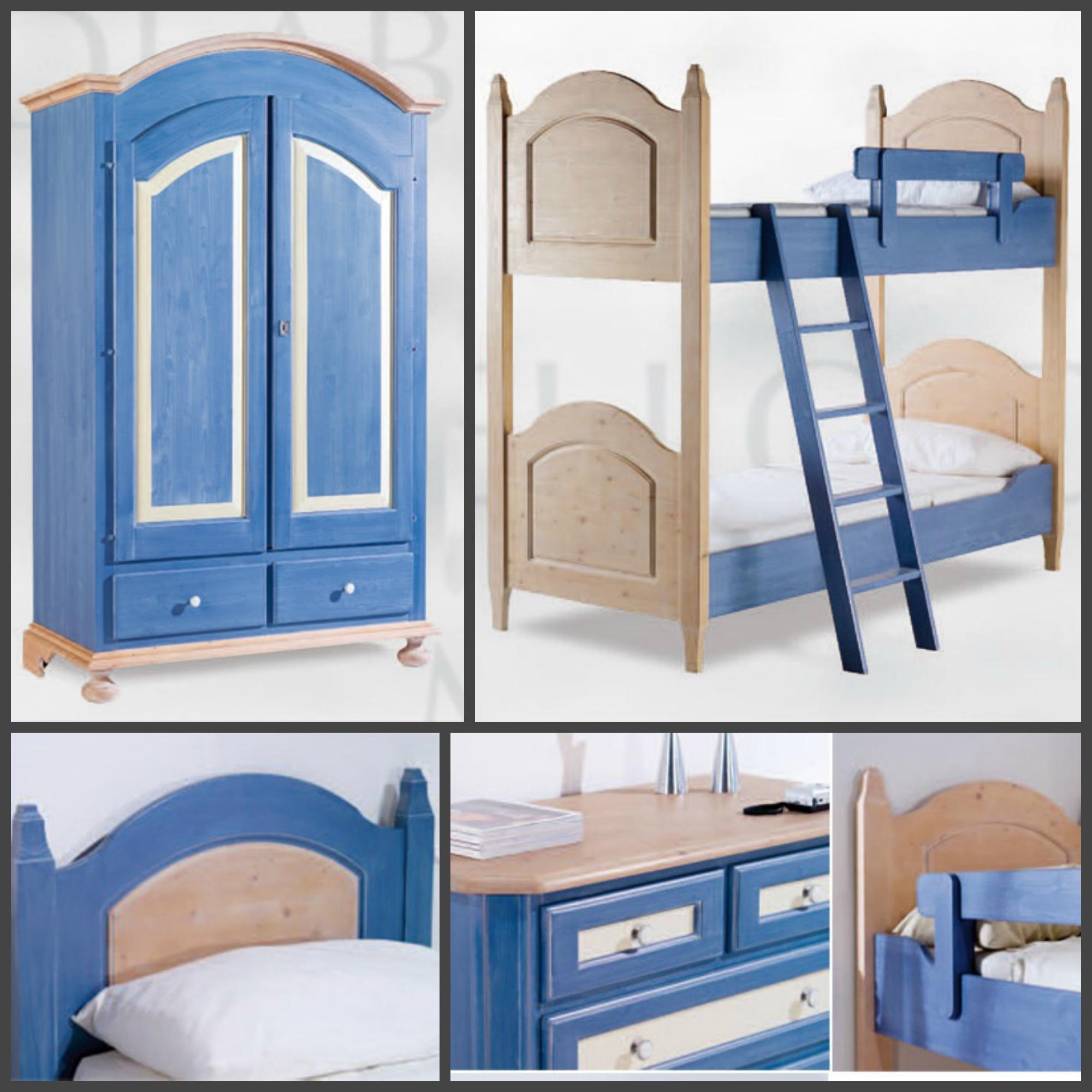 Cameretta in legno di abete con particolari blu - Camerette di legno ...