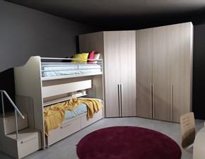 Cameretta Modello vip angolo Dielle con letto a castello scorrevole a prezzo Outlet