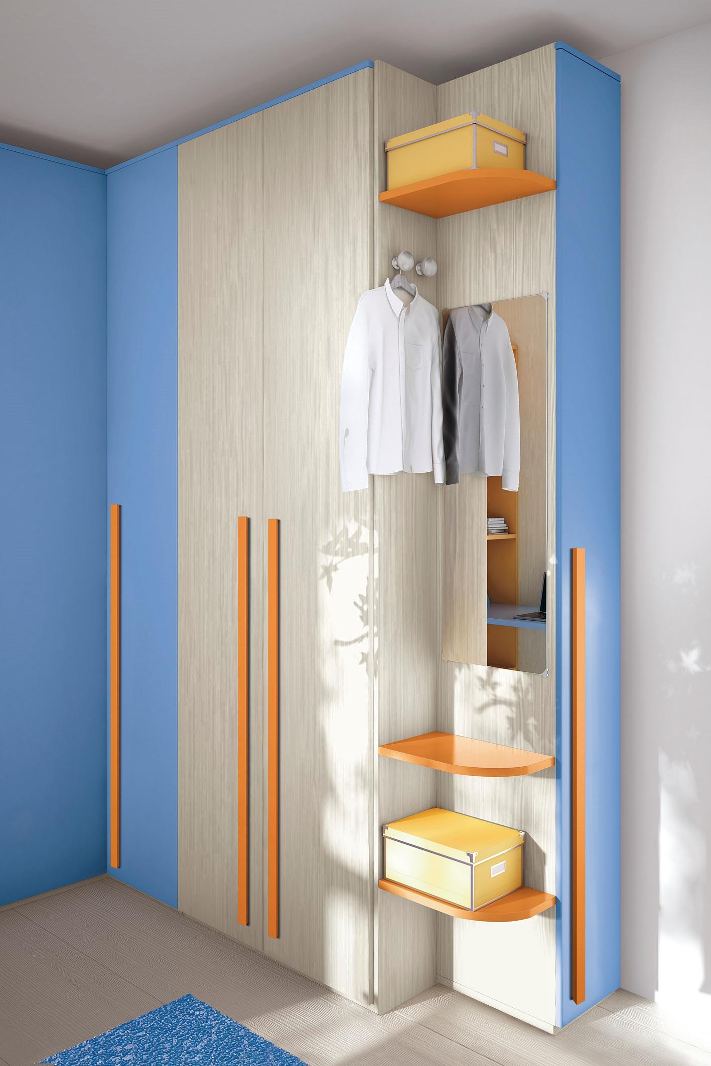 Cameretta per bambini colorata con un letto e cabina for Cameretta armadio