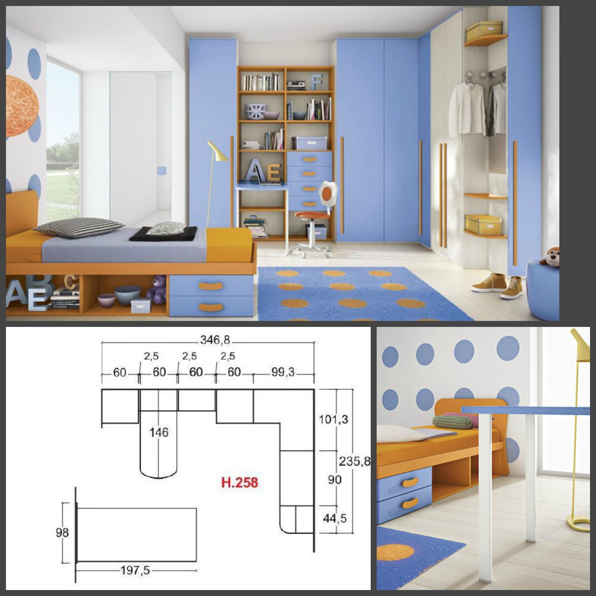 Cameretta per bambini colorata con un letto e cabina for Camera da letto misure
