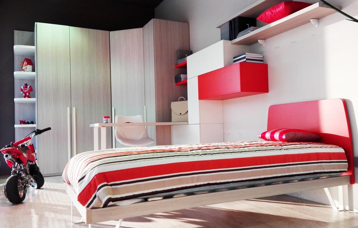 Cameretta moderna per bambini completa di letto armadio for Letto scrivania