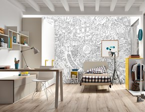 Cameretta Mottes mobili fantasy 08 Mottes selection con letto a terra in Offerta Outlet