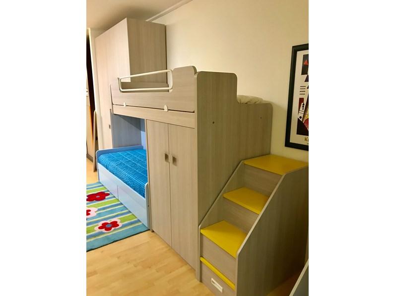 Cameretta oliver zg mobili con letto a castello in offerta outlet for Cameretta con letto a castello