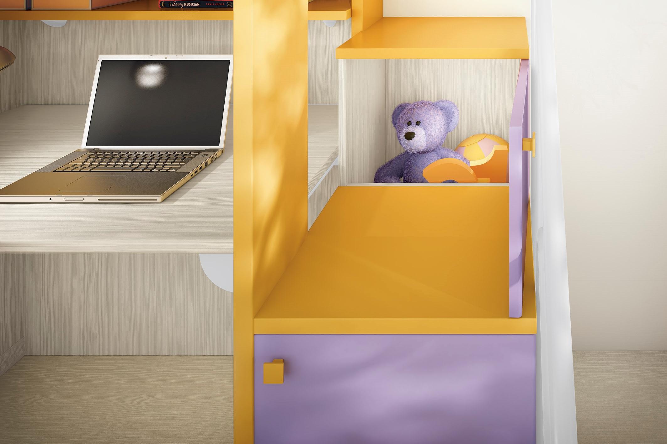 San Martino cameretta angolare per bambini colorata con due letti ...
