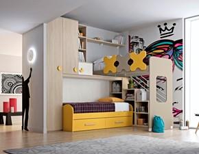 Cameretta colorata a soppalco con due letti Mottes Mobili