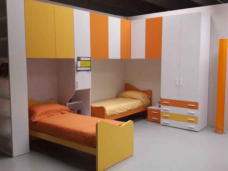 Cameretta Ponte angolo bianco e arancio Artigianale con letto a ...