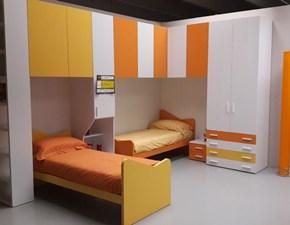 Cameretta Ponte angolo bianco e arancio Artigianale con letto a terrain offerta