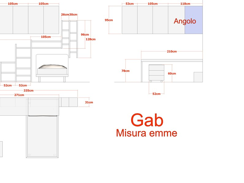 Cameretta Misuraemme Gab Cameretta a ponte Laminato Materico ...