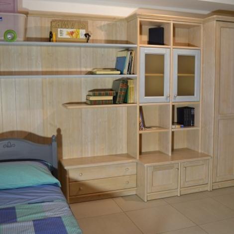Cameretta singola in legno massello scandola mobili - Camerette bambini legno naturale ...