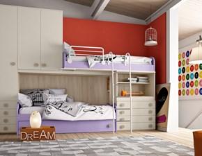Cameretta lineare con due letti a soppalco + terzo letto estraibile