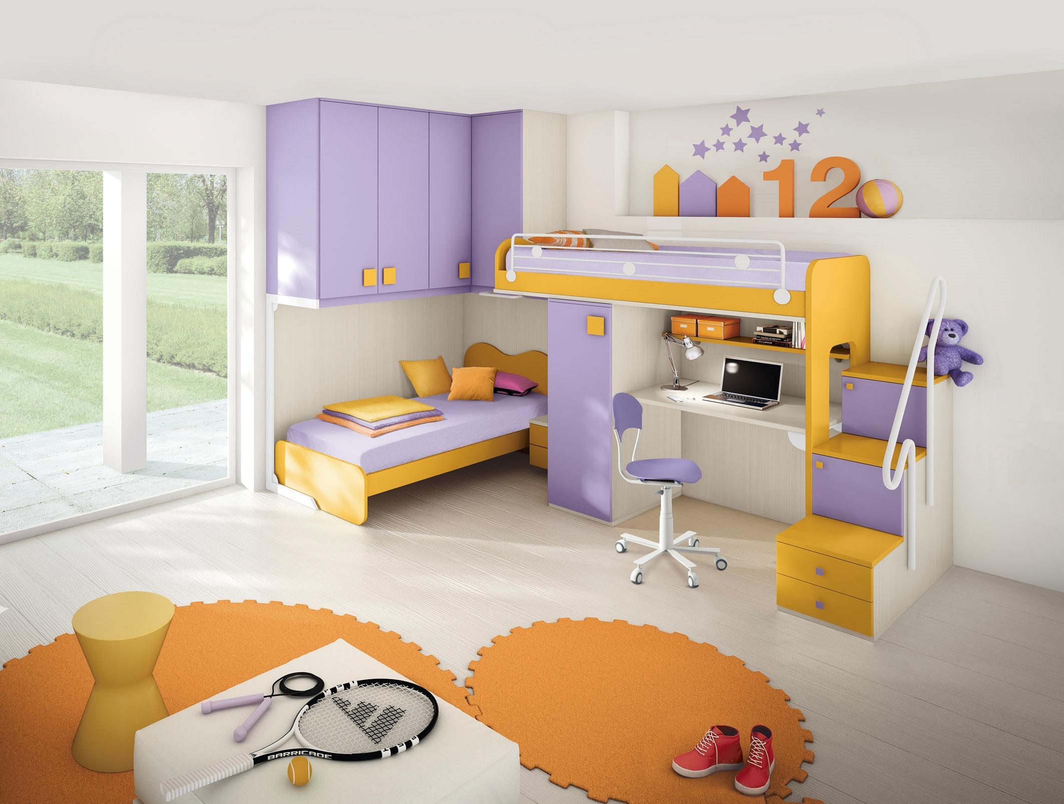 Cameretta per bambini colorata con due letti a soppalco for Arredamento per ragazzi