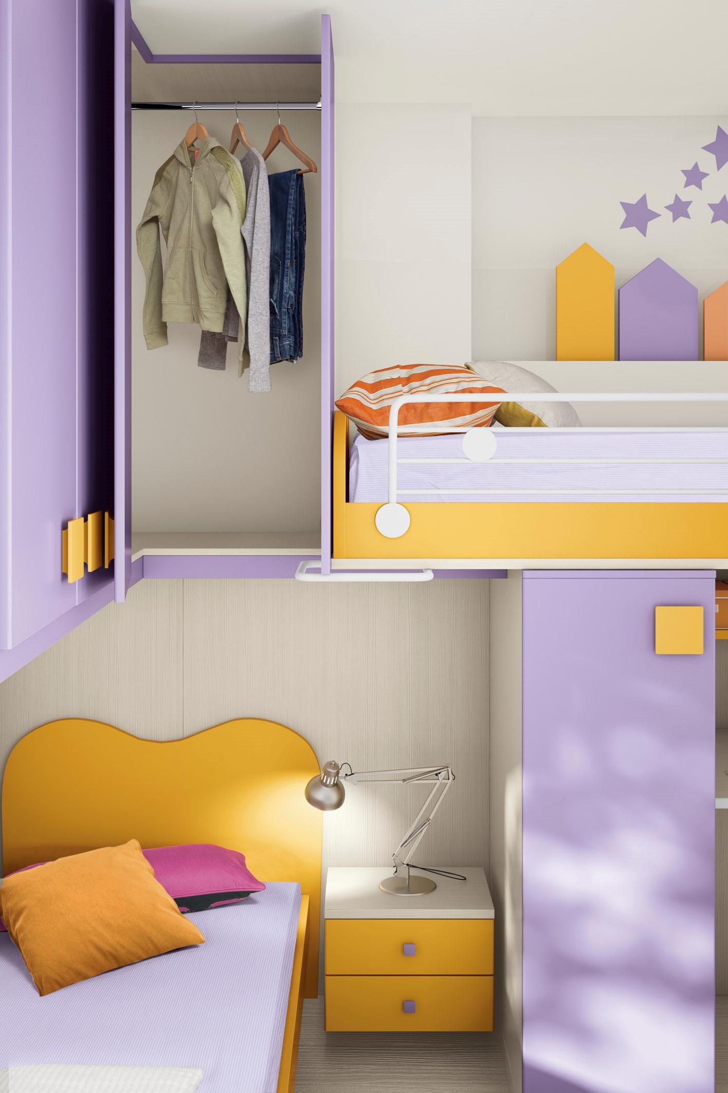 Cameretta per bambini colorata con due letti a soppalco for Cameretta per due