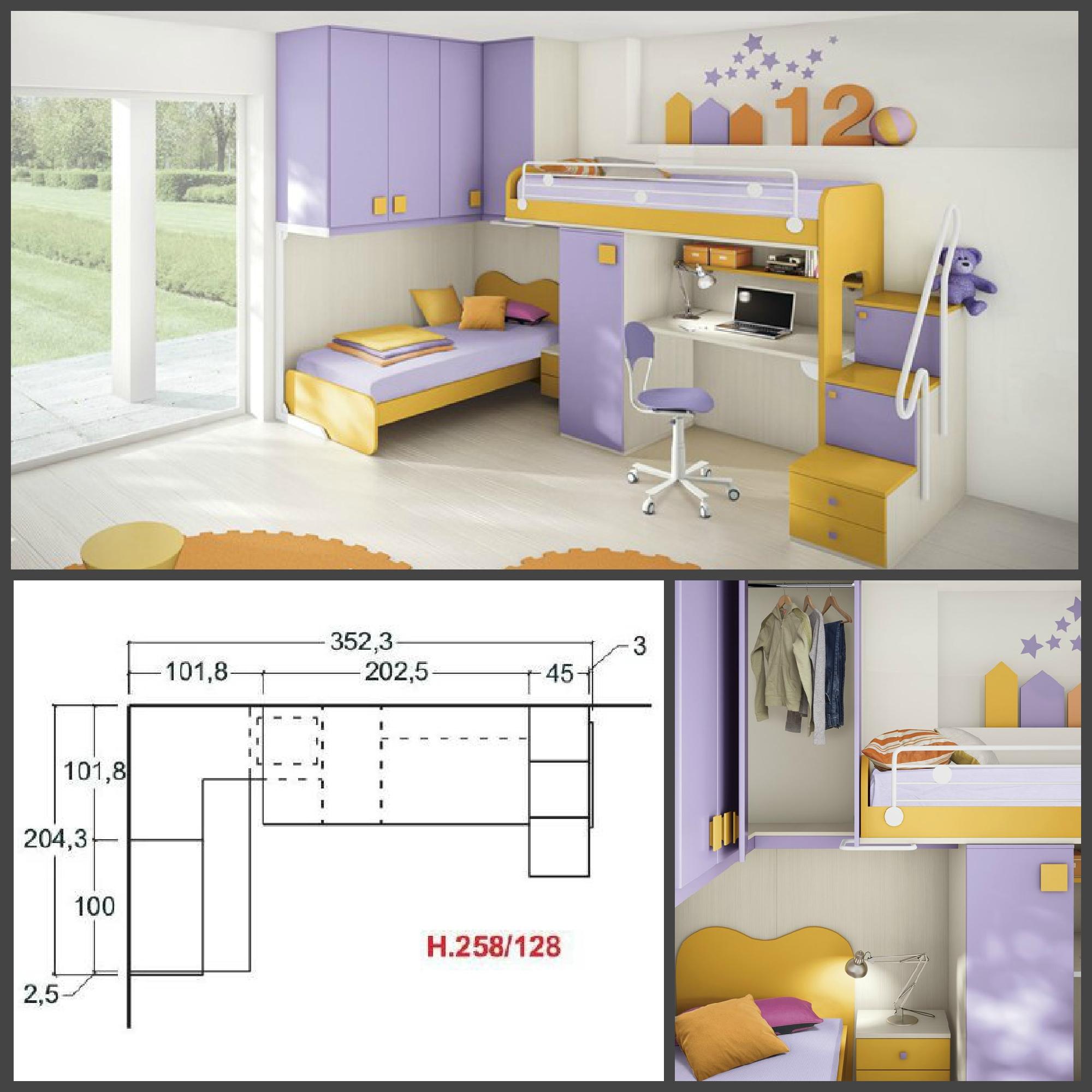Cameretta per bambini colorata con due letti a soppalco - Cameretta due letti ...