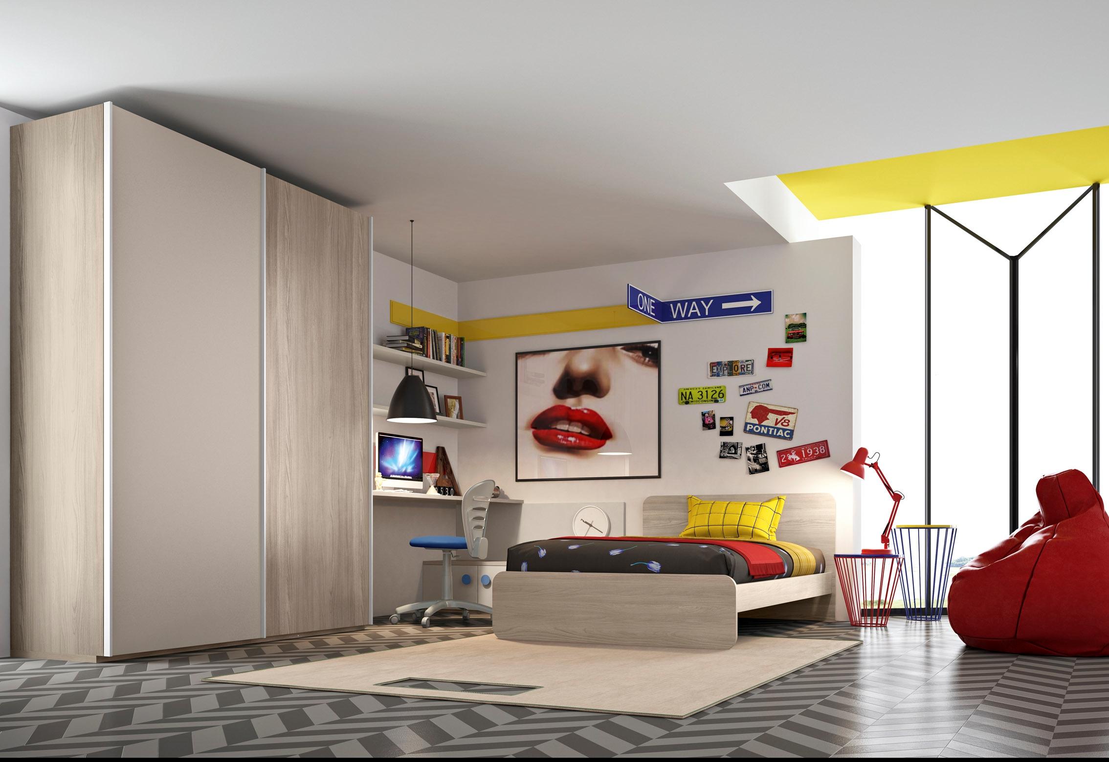 San martino cameretta con letto piazza e mezza armadio e for Camera letto e studio