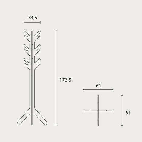 Appendiabiti in rovere massello modello XX, prodotto di design nuovo a prezzo...