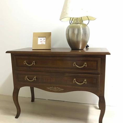 outlet Consolle cassettiera in legno con finiture orate